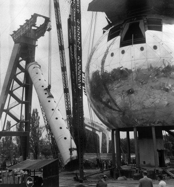 Belgium - Atomium under construction. 1958