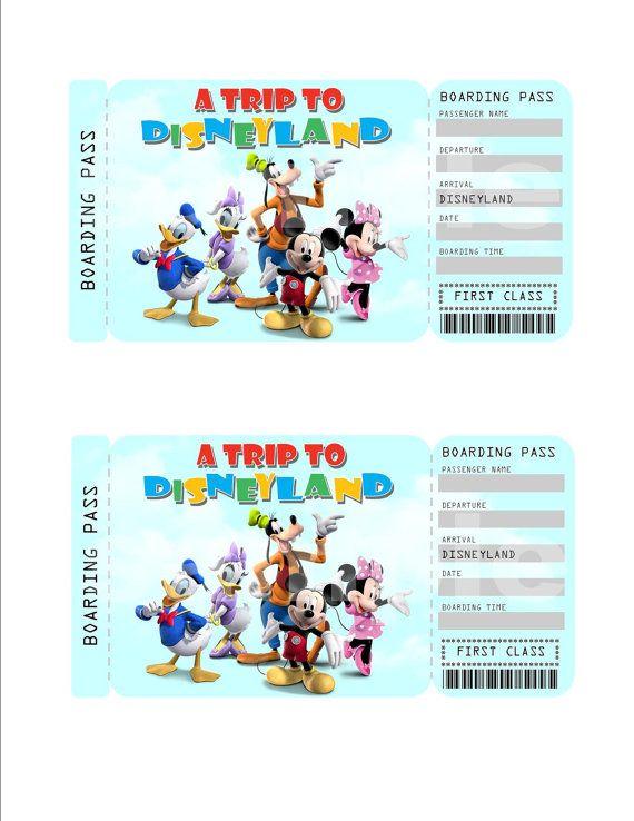 Printable Ticket to Disney (Disneyworld/Disneyland ...