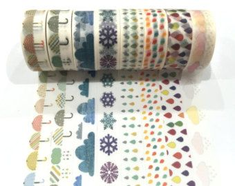 Japanese Washi Tape, Weather Rain Cloud Umbrella 8 Designs to Choose From 1 Roll x 10 METRES