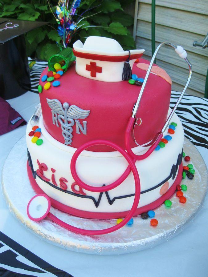 Nursing graduate.  Fondant cap and RN logo. Toy stethescope.