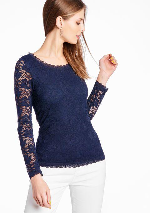 Lola Liza Kanten T-shirt met lange mouwen NAVY INK lace tshirt longsleeve navy dark blue