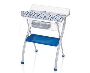 Bañera Brevi Lindo Youpi Azul es una bañera bebé con cambiador y chasis plegable de metal pintado. Ligera y estable gracias a su amplia base con pies anti-deslizamiento. Bañera anatómica. Práctico y cómodo plano cambiador, plegable cuando usamos la bañera, con bordes de seguridad.