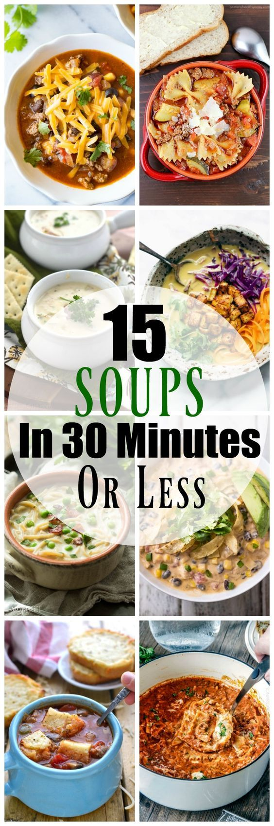 15 Easy Soup Recipes in 30 Minutes or Less ~ all of these comforting fall soups can be made and on the table in 30 minutes or less!