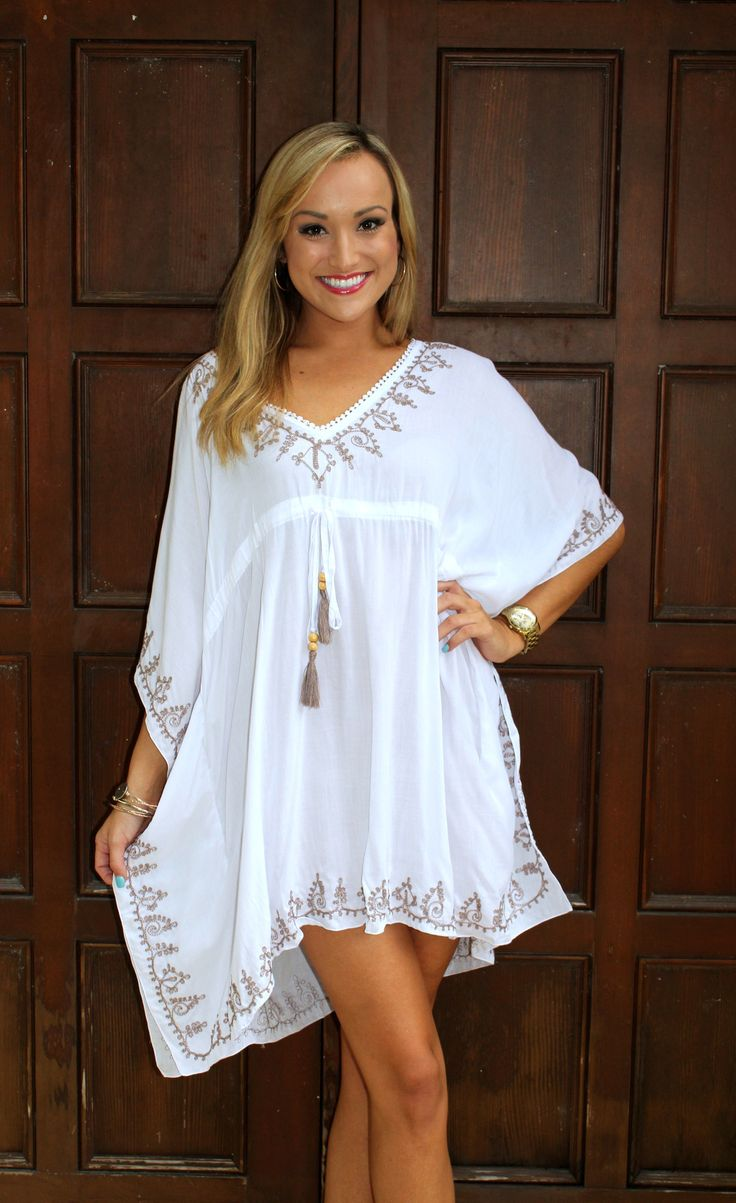 Bali Tassel Beach Coverup - White & Tan – Blu Dulce