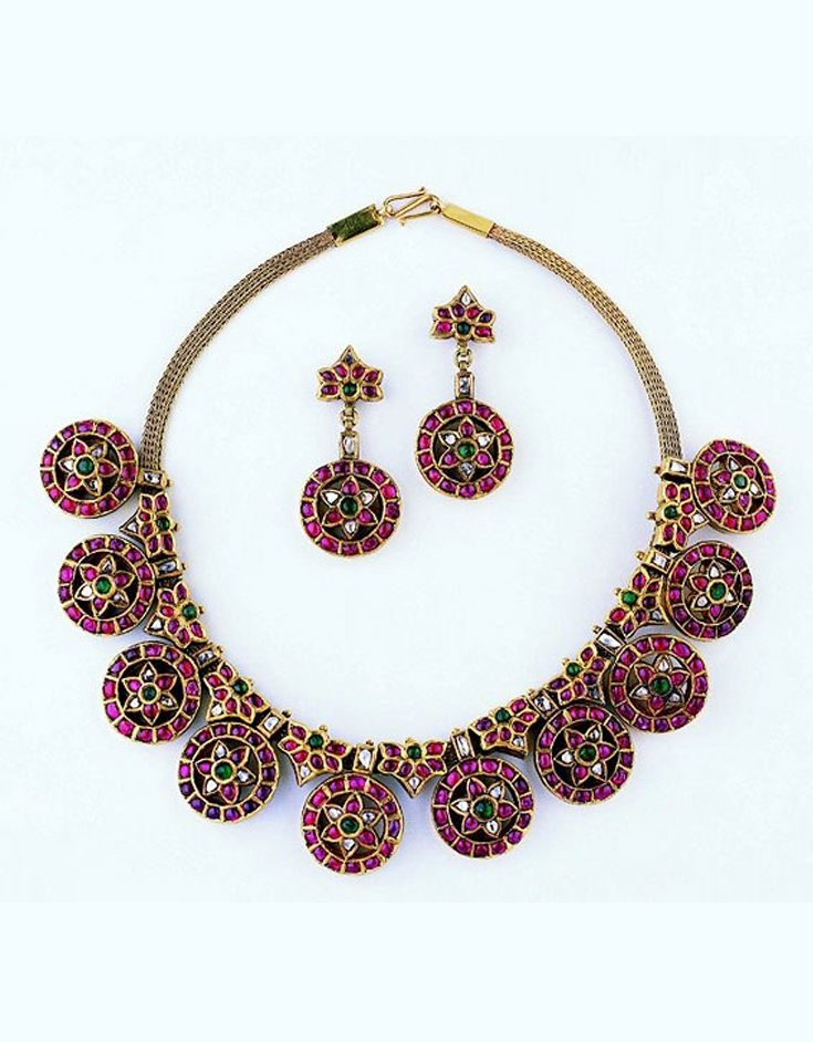 South India | Necklace and earrings; gold with diamonds, rubies, and emeralds | 19th century | Susan L. Beningson Collection