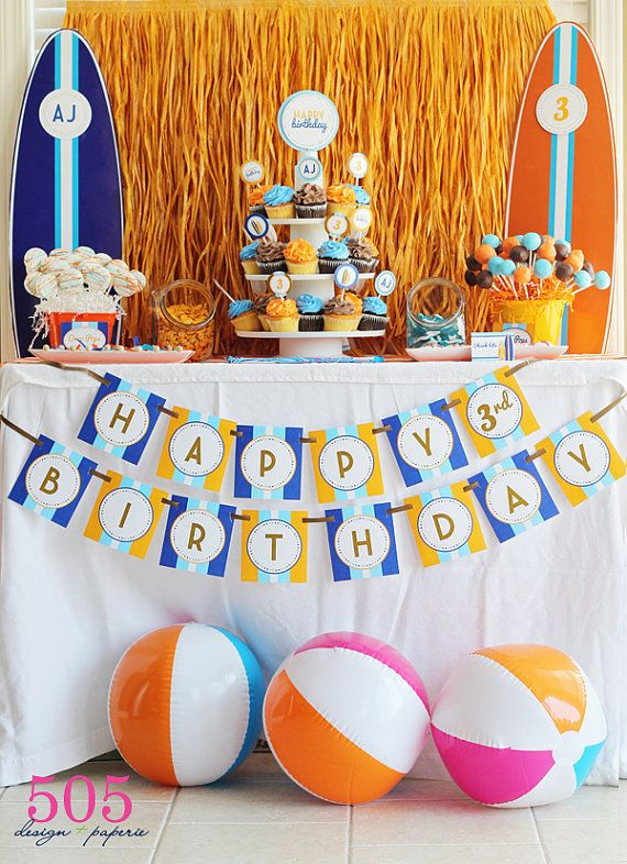 18 best Surf Party Theme images on Pinterest Birthday party ideas