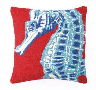 Red Seahorse Beach Decor Pillow