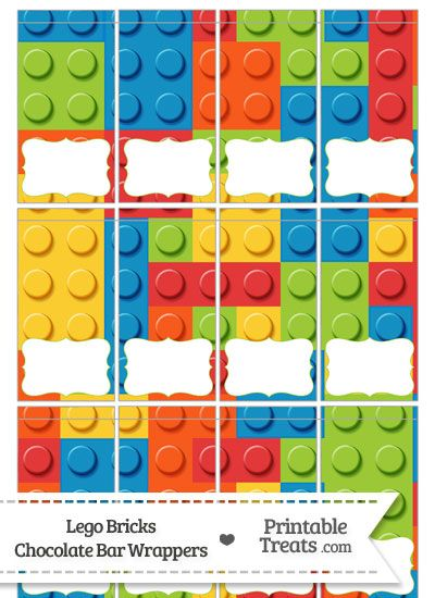 Lego Bricks Mini Chocolate Bar Wrappers from PrintableTreats.com