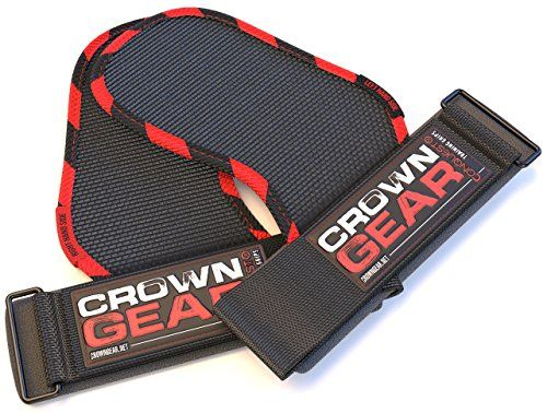 Weight Lifting Gloves Strap Hooks  Crown Gear CONQUEST Grips Pads with Builtin Wrist Support Wraps and Industrial Quality Velcro Fastening  One Size Fits All ** To view further for this item, visit the image link.