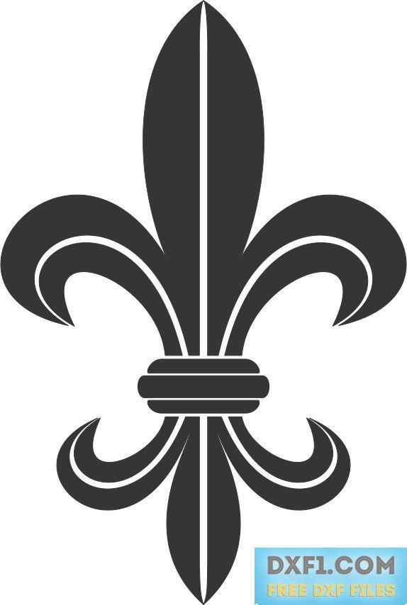 heraldic lily silhouette - FREE DXF FILES. FREE CAD SOFTWARE - DXF1.com