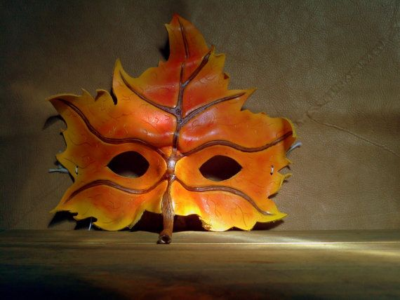 Leather Mask  Autumn Leaf Male Masquerade Mask by LeatherBoundGift,