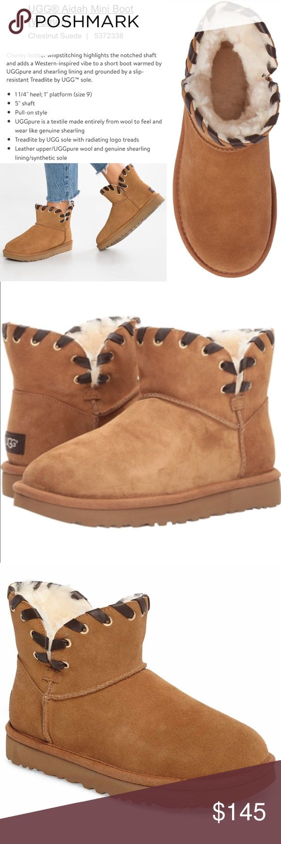"""🆕UGG®️Women's Aidah Mini Boot Chestnut Suede Sz 8 Brand New in Box !!! WOMENS """"Aidah"""" Mini Ugg Boots in Chestnut Suede! Size 8. Never Worn. Brand New in Original Ugg Box & Packaging ! Purchased 2 pairs by accident! MRSP $189 !! UGG Shoes Ankle Boots & Booties"""