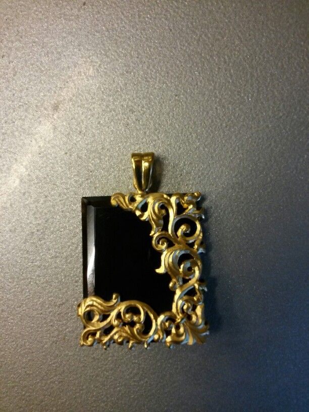 Vintage black stone pendant.