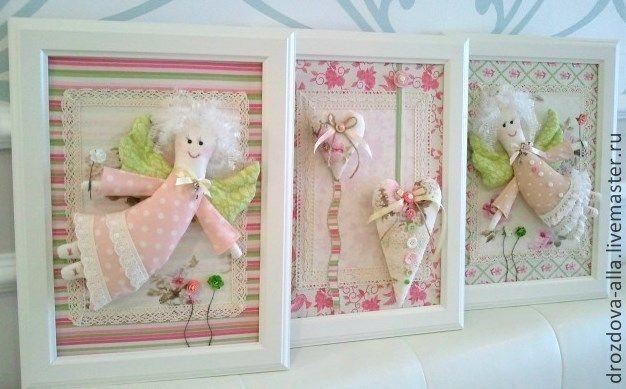 """Купить Панно Трио """"Ангелочки"""" - бледно-розовый, горошек, прованский стиль, прованс, детская комната"""