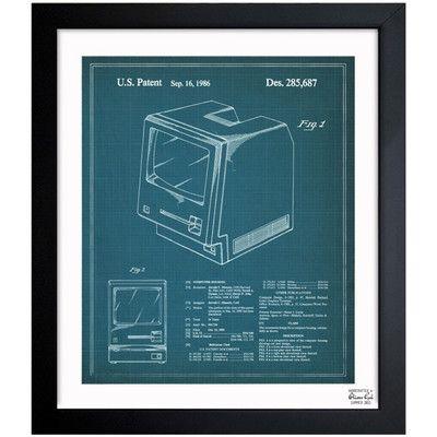 """Oliver Gal Apple Macintosh 128K 1986 Framed Graphic Art Size: 18"""" x 15"""""""