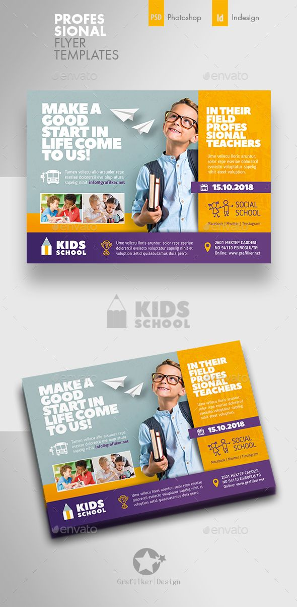 Kids School Flyer Template PSD InDesign INDD