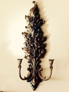 Vintage Floral Ornate,  Lrg. Syroco, Double Arm Sconce, Hollywood Regency Decor, French Country Decor, Glam