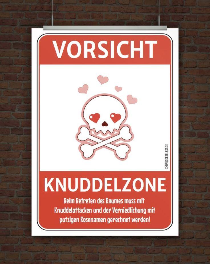 Lustiges Warnschild Vorsicht Knuddelzone