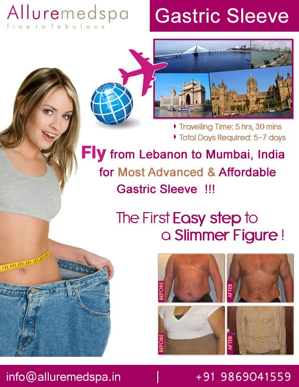 Gastric sleeve surgery is procedure which works by reducing your stomach size by Celebrity Gastric sleeve surgeon Dr. Milan Doshi. Fly to India for Gastric sleeve surgery (also known as Sleeve Gastrectomy) at affordable price/cost compare to Beirut, Tripoli, Djounie,LEBANON at Alluremedspa, Mumbai, India.   For more info- http://Alluremedspa-lebanon.com/