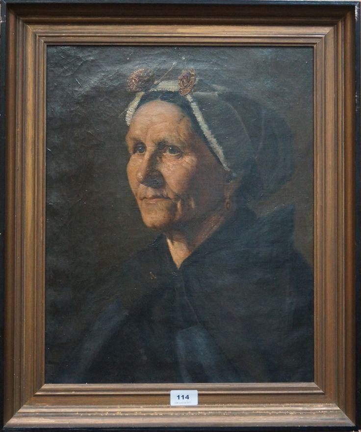 """Hollandse school 19e eeuw, olieverf op doek, portret van een Scheveningse vrouw, """"Anna Bakker"""""""