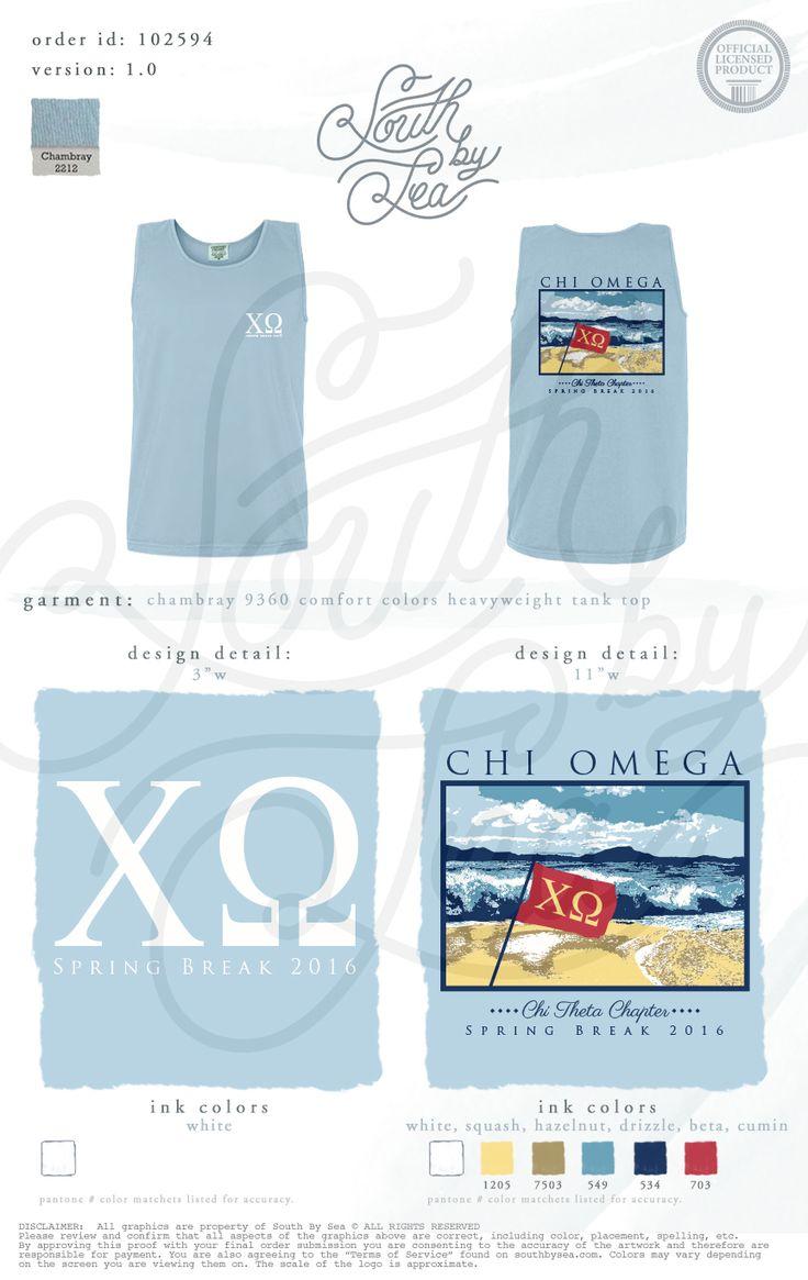 Chi Omega | XO | Spring Break T-Shirt Design | Beach T-Shirt Design | Flag…