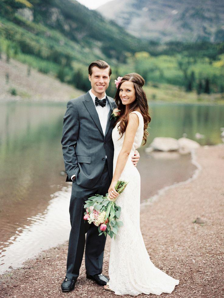 Bride & Groom -- Gorgeous scenery -- See the wedding on SMP: http://www.StyleMePretty.com/2014/03/18/elegant-aspen-wedding-with-boho-flair/  Sarah Joelle Photography