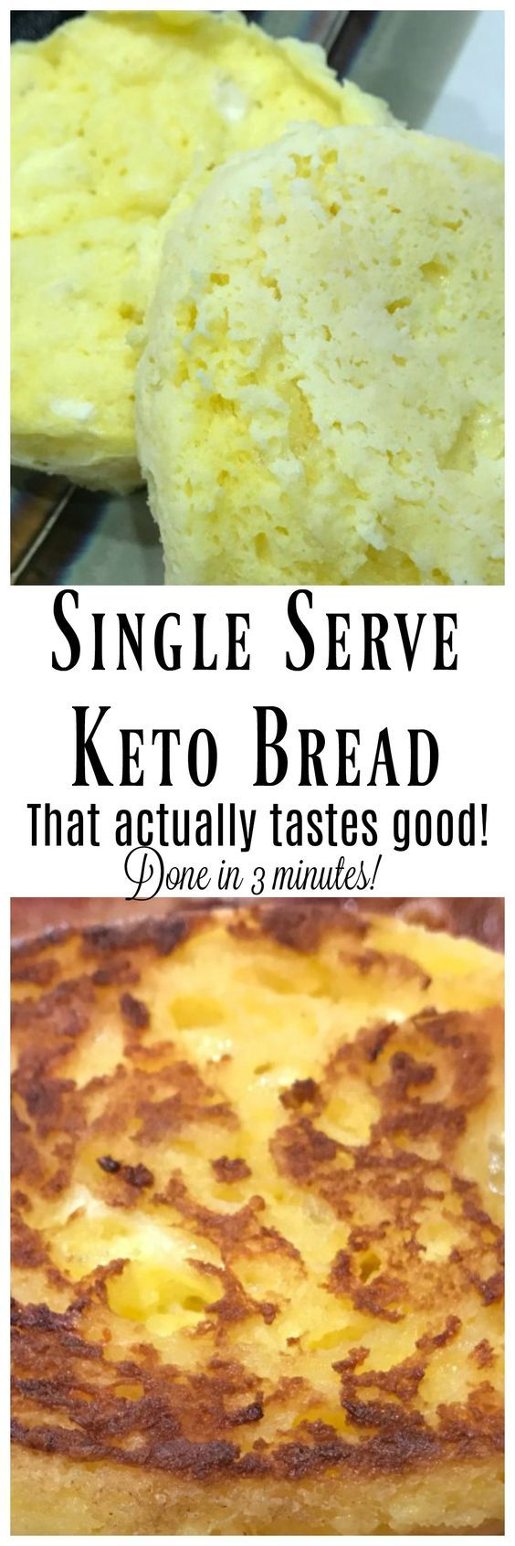 This Single Serving Keto Bread takes under 3 minutes to make and it actually tastes good! Low carb Keto friendly bread that is made with coconut flour and easily cooked in the microwave! Perfect for Keto Breakfast Sandwiches!