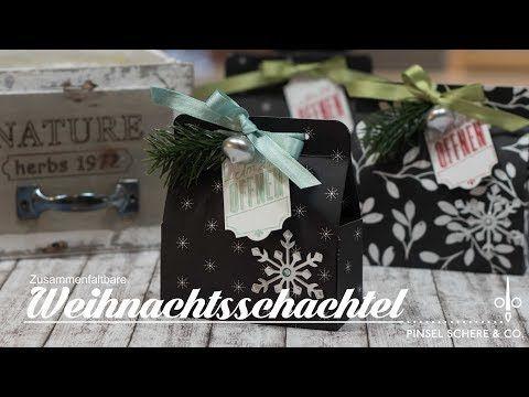Zusammenfaltbare Weihnachtstasche   Adventskalenderidee   Weihnachten   Stampin' Up! - YouTube