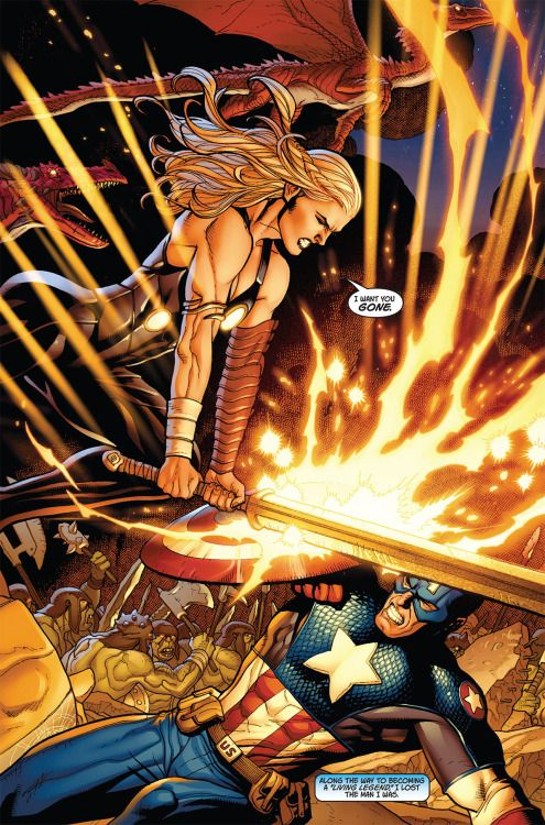 Valkyrie vs Cap in New Ultimates #2 - Frank Cho | Angela ...