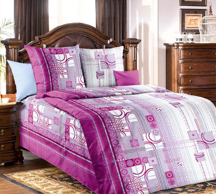 КПБ Текс-Дизайн МИГЕЛЬ 2/ 1,5 сп розовое постельное белье с фиолетовыми рисунком