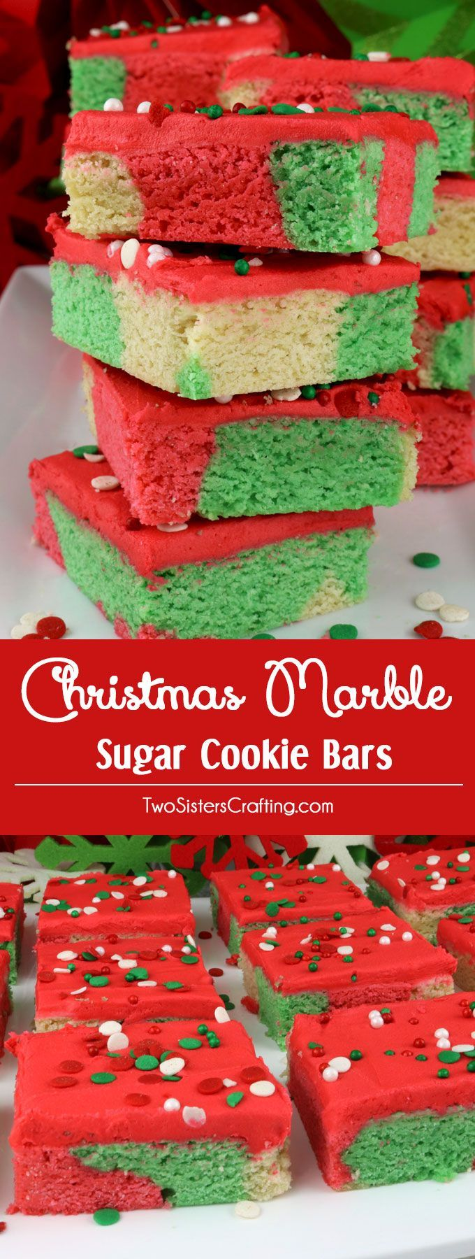 Christmas Marble Sugar Cookie Bars - a unique take on a Frosted Sugar Cookie in gorgeous Christmas colors and topped with yummy red buttercream frosting. A great Christmas Cookie recipe and a delicious Christmas Treat or Holiday Dessert. Make your family a Marble Dessert Bar that they are sure to love! Pin this Christmas Dessert for later and follow us for more more great Christmas Food ideas. #ChristmasCookie #ChristmasDessert