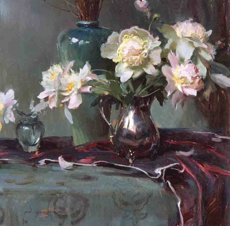 Peonies and Silver still life painting