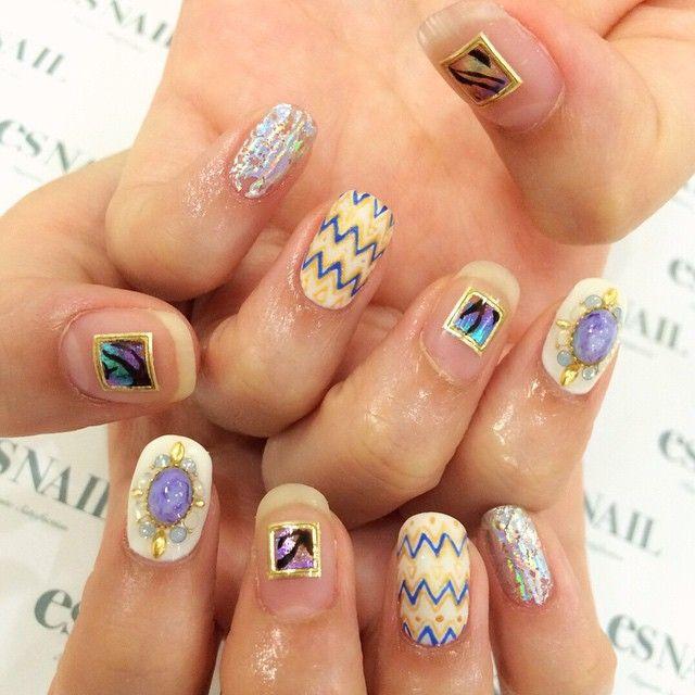 #nail#nails#nailart#naildesign#esnail#gelnail#nailgram#nailsalon#esnails#notd#ネイルサロン#ネイル#エスネイル#ジェルネイル#네일#美甲@esnail_la#summernails#clearnails#mattetopcoat#mattenails#metallicnails#handpaint#metallic