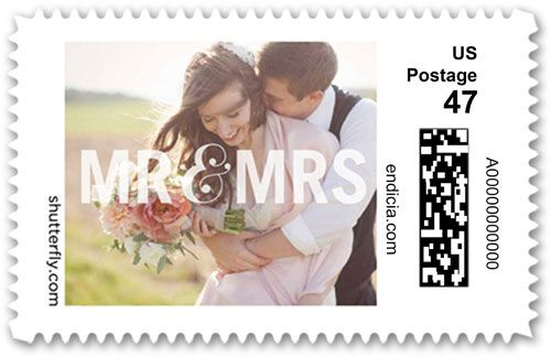 Social Titles Personalized Postage Stamps, Square, White