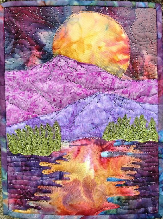 easy landscape : ... by QFA  | Quilting Pattern - Looking for your next project? You're going to love easy landscape : moon over the mountains by designer QFA . - via @Craftsy