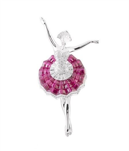 Ballerina Dancer--- exquisitely crafted Van Cleef & Arpels Ballerina Dancer necklace, brought to life with the fine jeweler's opening of their Hong Kong maison. From her ruby tutu to her diamond-encrusted tiara, slippers and leotard,