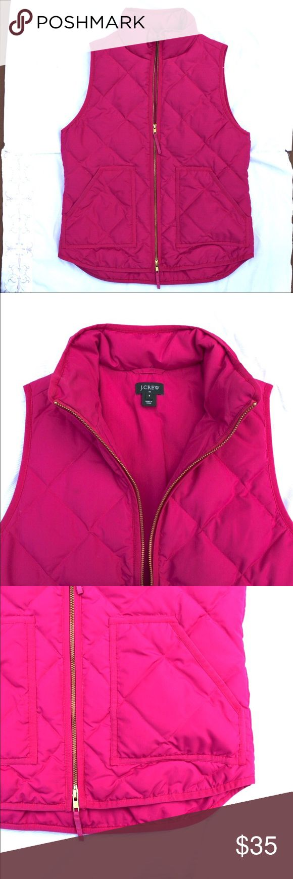 J. Crew Puffy Vest J. Crew Factory | puffy vest | pink | two pockets | zipper front with top zip and bottom zip J. Crew Factory Jackets & Coats Vests