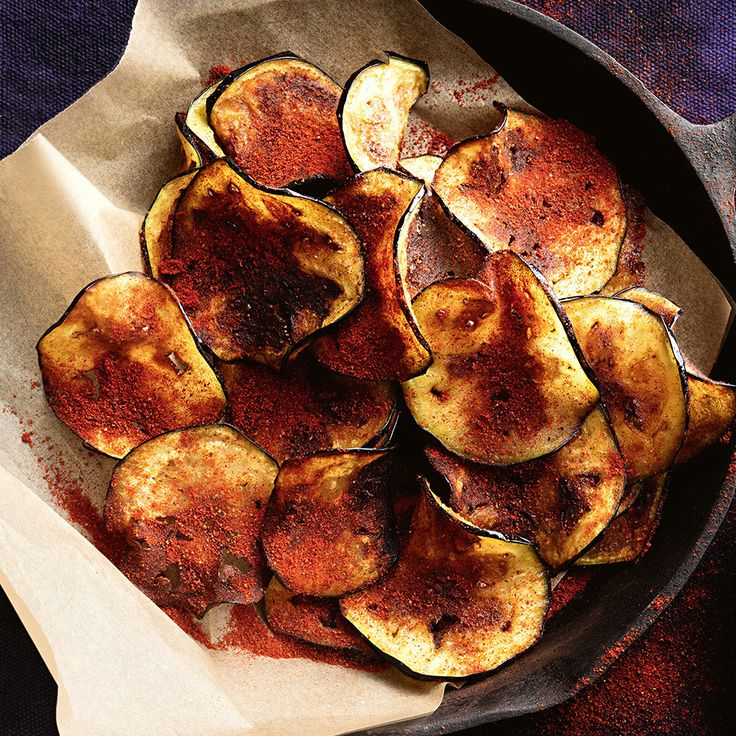 Try substituting hot chips for these delicious Spiced Eggplant Chips!  Top tip from Fresh Magazine: Use a mandoline to thinly slice the eggplant.