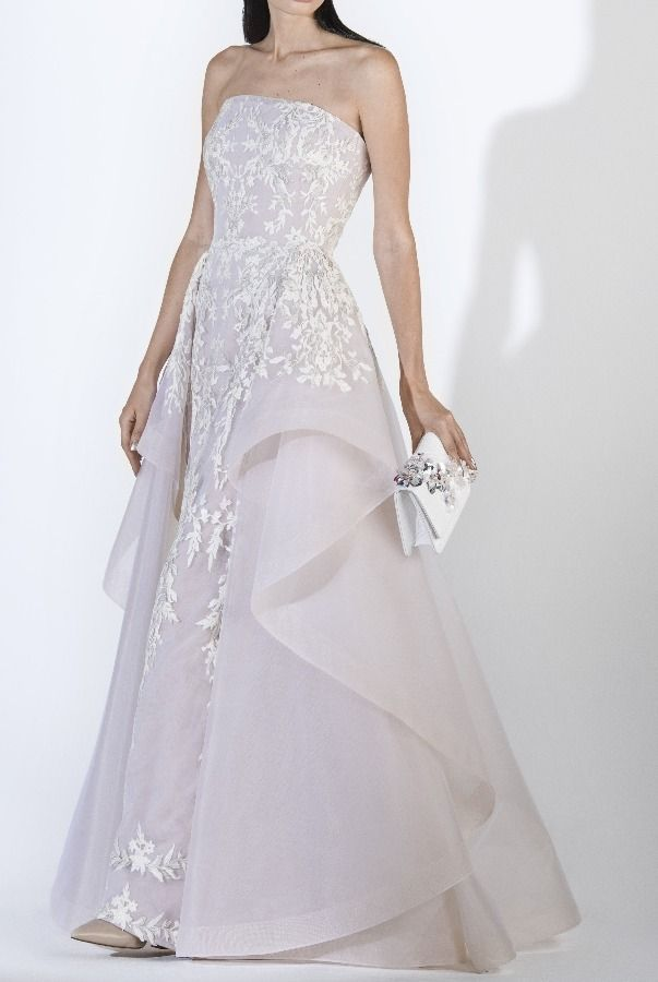8e8b9d37db16 SK by Saiid Kobeisy Ecru Strapless Lace Tulle Brode Gown w Overskirt |  Poshare