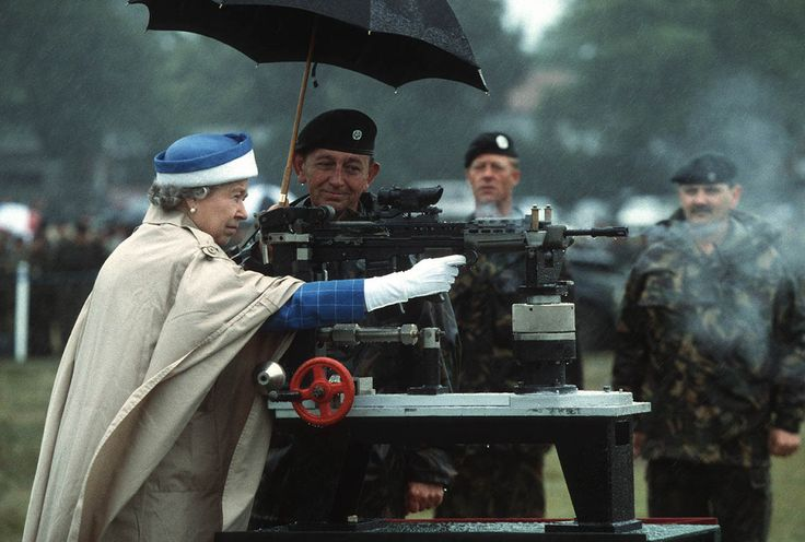 This photo (which is arguably the best picture taken of anyone, ever) was snapped during a royal visit to Surrey's National Shooting Centre. The Queen couldn't resist some target practice when she was shown this L85 battle rifle.