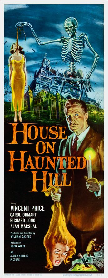 """""""House on Haunted Hill"""" with Vincent Price. A millionaire offers ten thousand dollars to five people who agree to be locked in a large, spooky, rented house overnight with he and his wife. Photo and info credit: IMDb."""