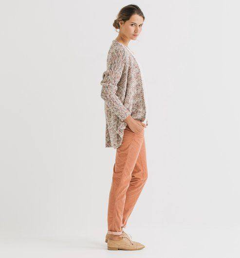 Pantalon chino velours Femme rose - Promod