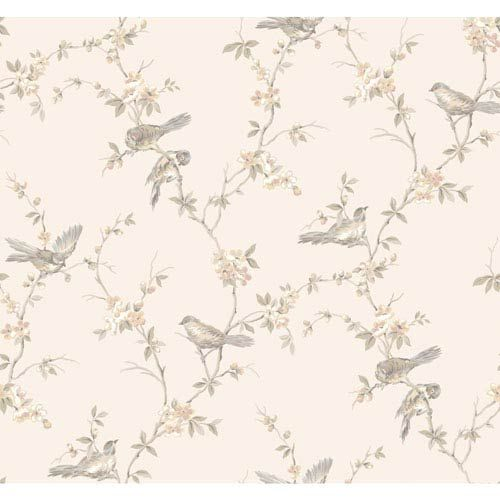 York Wallcoverings CT0865 Callaway Cottage Pale Silver and Peach Floral Branches with Birds Wallpaper | Bellacor