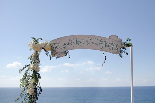 For you I know I'd even try to turn the tide--- I like the idea of a quote across the top of the mandap