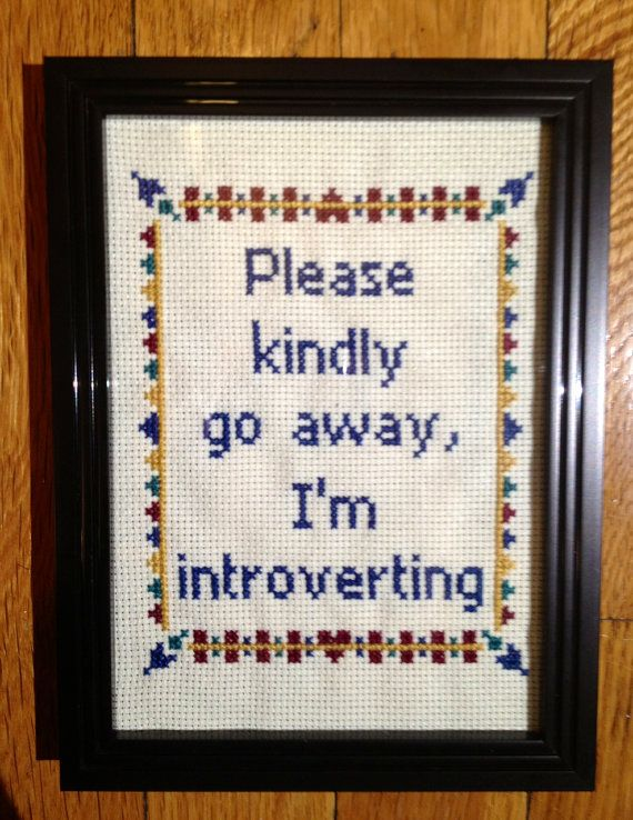 Please Kindly Go Away I'm Introverting Introvert Cross Stitch Art Framed