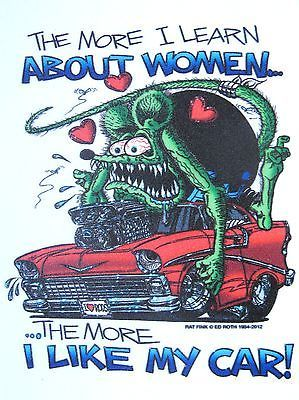 Rat Fink   WOMEN and CARS   Decal Sticker Hot Rod Car  Man Cave   Red  56 Chevy