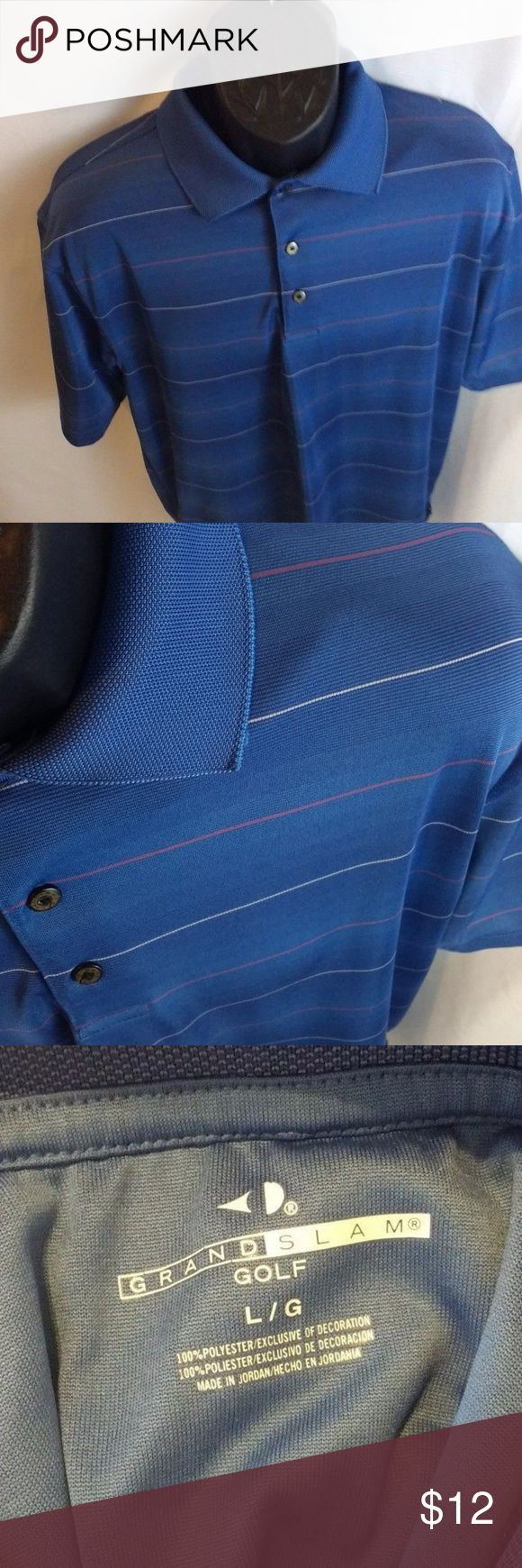 Grand Slam Blue Casual Henley Polo Dress Shirt L Size: Large I usually ship within 1 day.  Don't be afraid to make an offer I'm very negotiable  Smoke/Pet Free Home T1 Grand Slam Shirts Casual Button Down Shirts