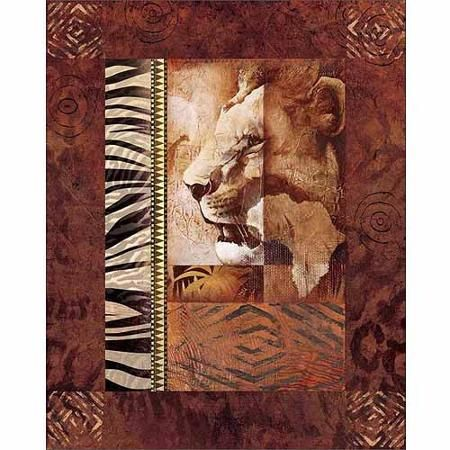 Traditional Tribal Textured Safari Lion Africa Zebra Pattern Tan & Brown Canvas Art by Pied Piper Creative