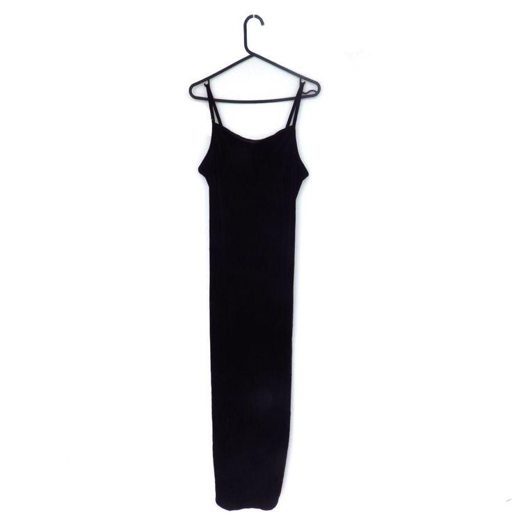 Vintage Black Velvet Dress 90s Dress 1990s Dress  Maxi Dress Slit M Medium L Large by PaperCranesVintage on Etsy