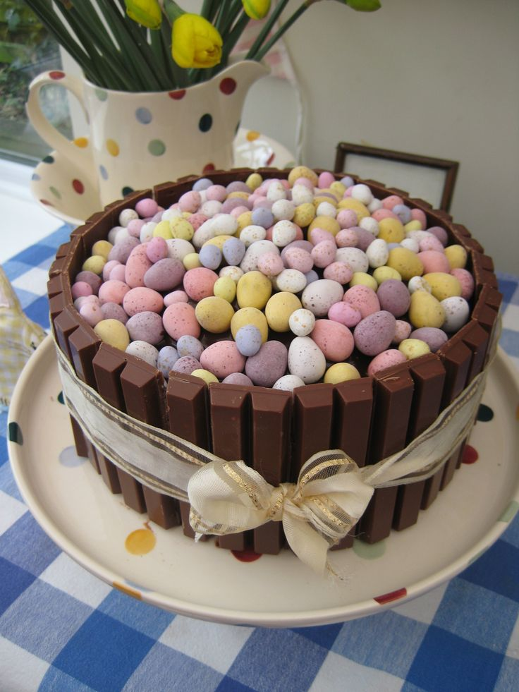 My easter egg, Kit Kat, mini egg chocolate birthday cake! http://willowcottagegarden.wordpress.com/. Would you believe that this is the cake Neen wants Mason to have for his bday ?